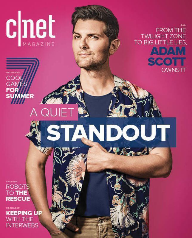 Adam Scott on the cover of CNET Magazine, in a vintage Kamehameha aloha shirt. Image: cnet.com