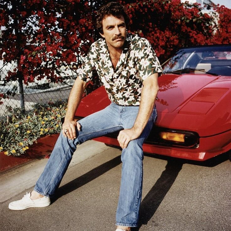 "Tom Selleck as ""Magnum, P.I."", inspiration for Hopper's look. It's not hard to see the resemblence."